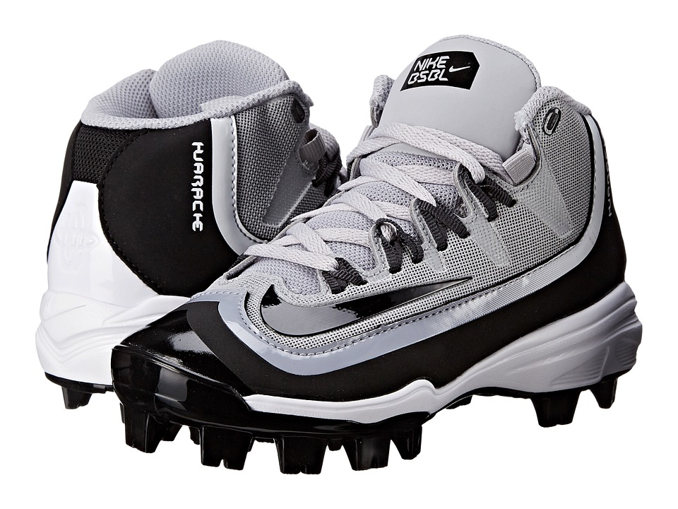 Nike Kids - Huarache 2K Filth Pro Mid Baseball (Little Kid/Big Kid) (Wolf Grey/Anthracite/White/Black) Kids Shoes