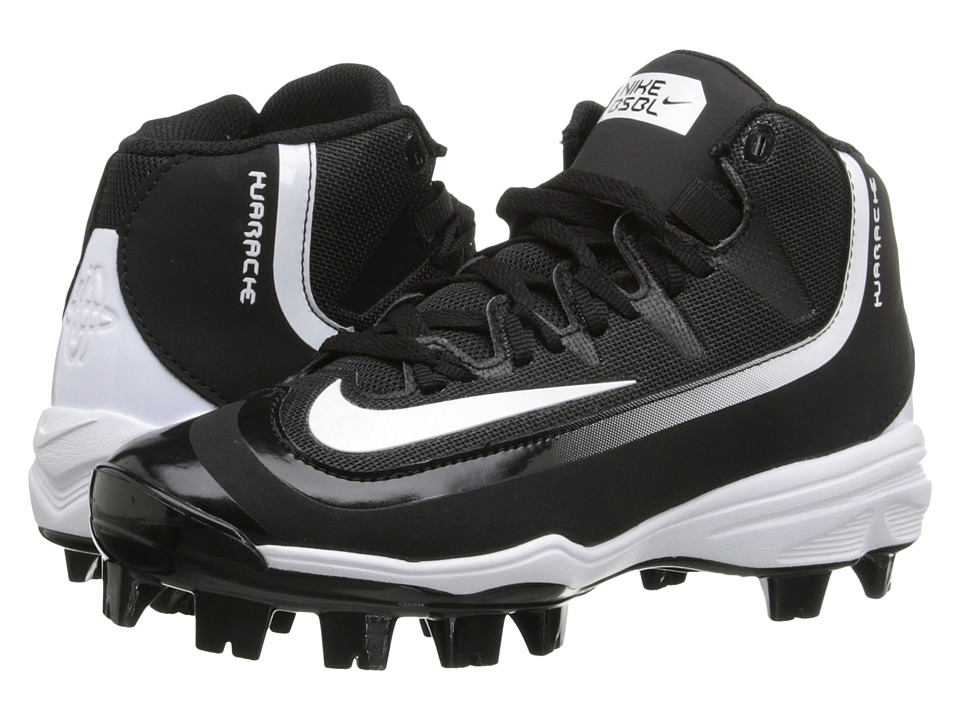 Nike Kids - Huarache 2K Filth Pro Mid Baseball (Little Kid/Big Kid) (Black/White) Kids Shoes