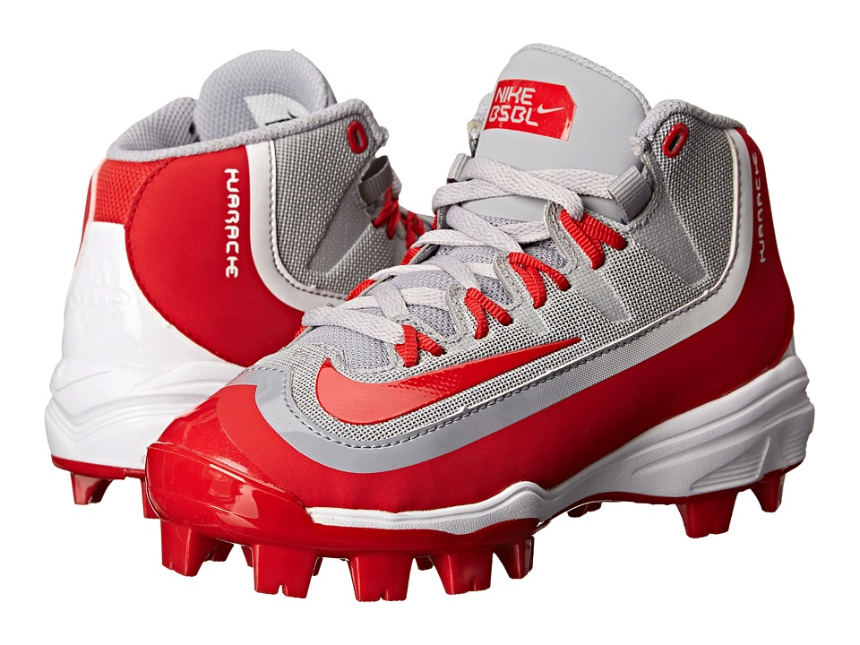 Nike Kids - Huarache 2K Filth Pro Mid Baseball (Little Kid/Big Kid) (Wolf Grey/White/University Red) Kids Shoes