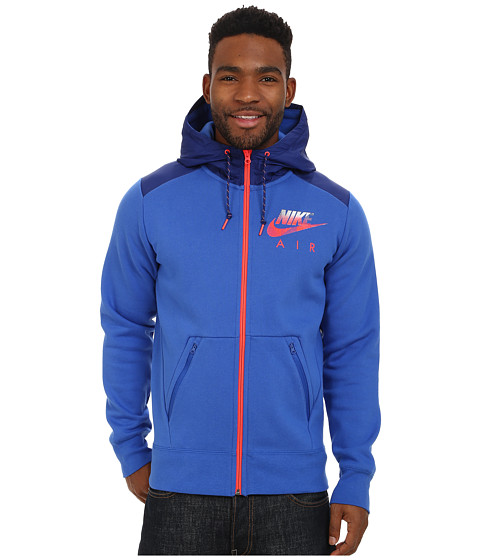 Nike - AW77 Fleece Full-Zip Hoodie Hybrid (Game Royal/Heather/Bright Crimson) Men's Sweatshirt
