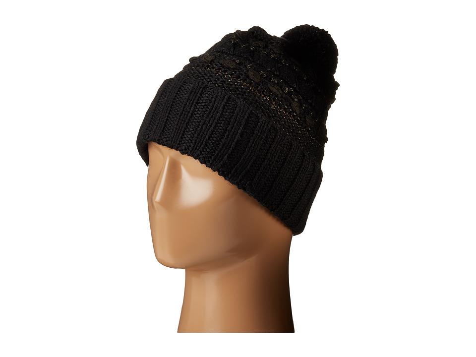 LAUREN by Ralph Lauren - Multi Texture Cuff Hat w/ Pom (Black Tonal) Beanies