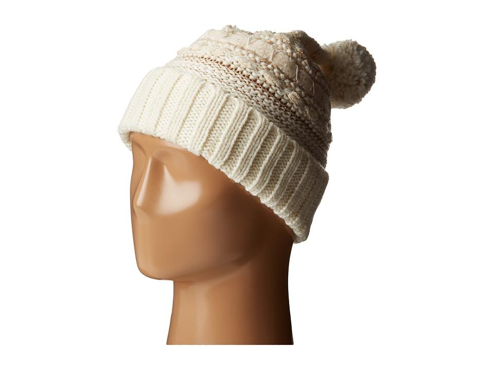 LAUREN Ralph Lauren - Multi Texture Cuff Hat w/ Pom (Cream Tonal) Beanies