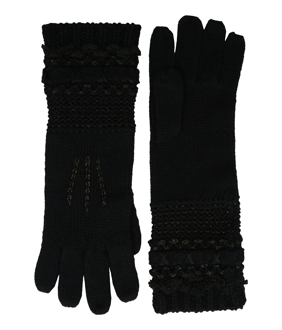 LAUREN Ralph Lauren - Multi Texture Glove (Black Tonal) Wool Gloves