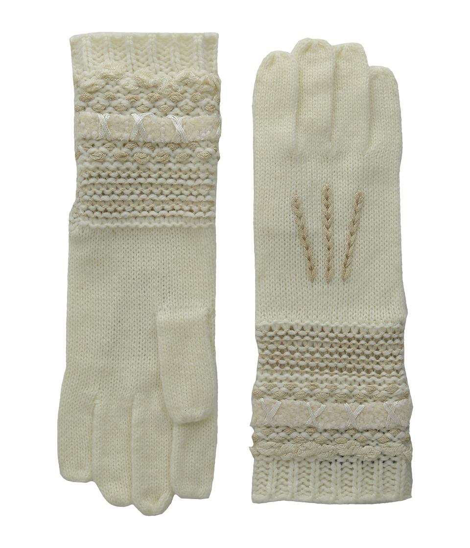 LAUREN by Ralph Lauren - Multi Texture Glove (Cream Tonal) Wool Gloves