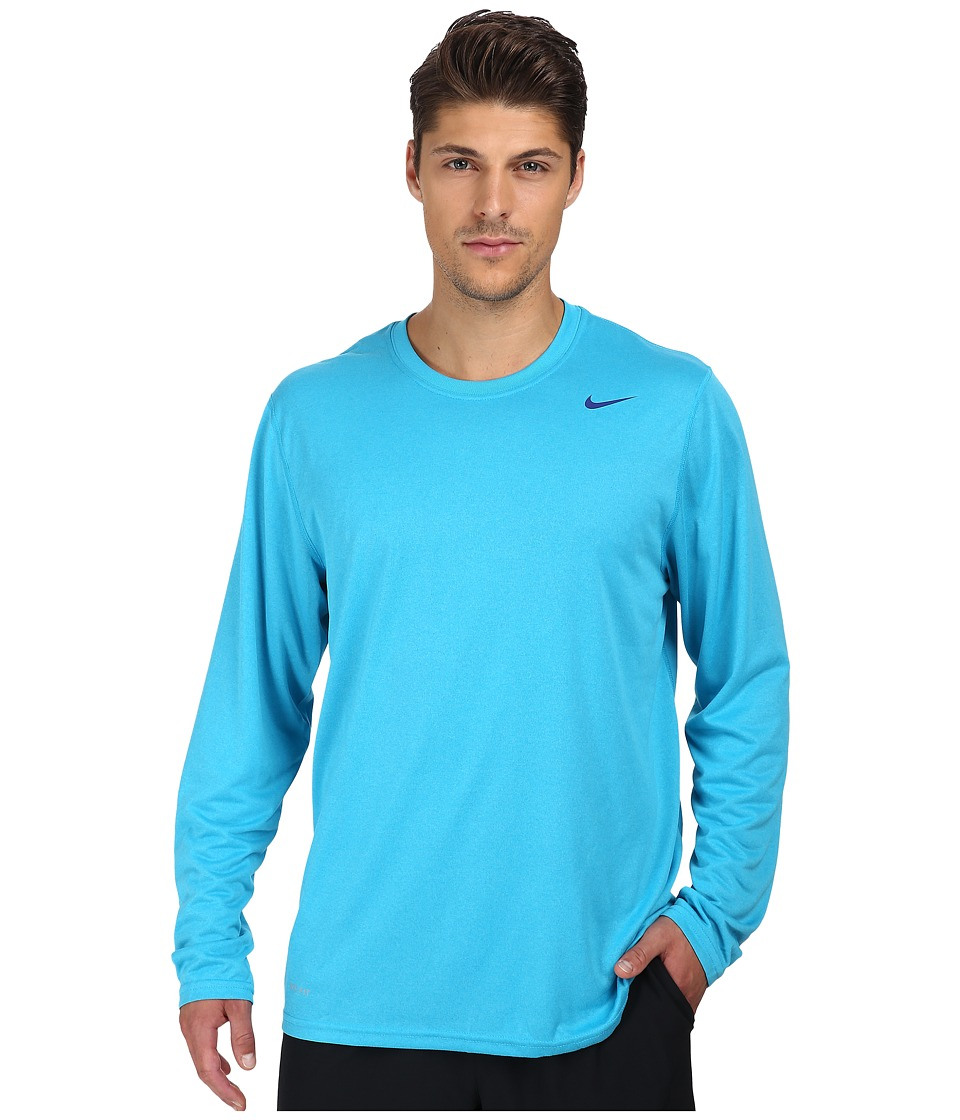 Nike - Legend Dri-FIT Poly L/S Crew Top (Blue Lagoon) Men's Workout