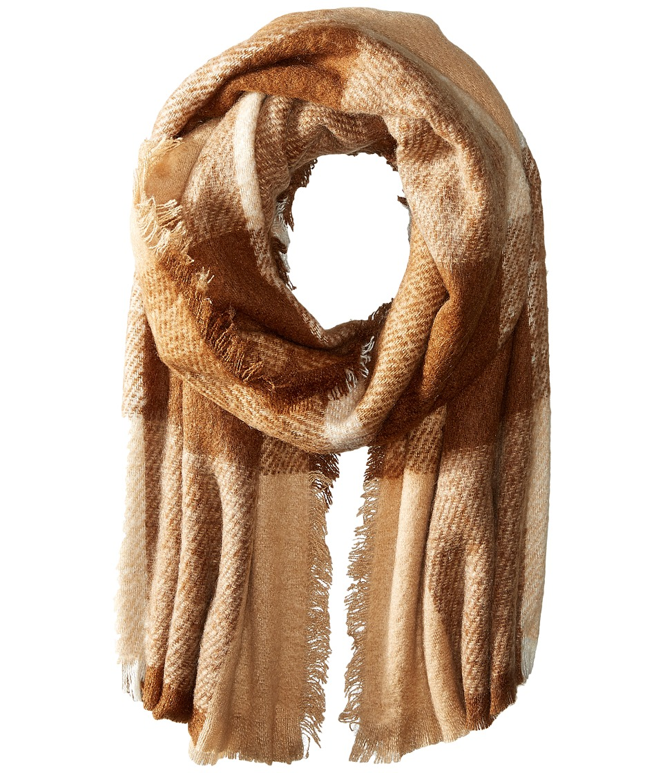LAUREN by Ralph Lauren - Mohair Blanket Plaid Scarf (Camel/Vicuna) Scarves