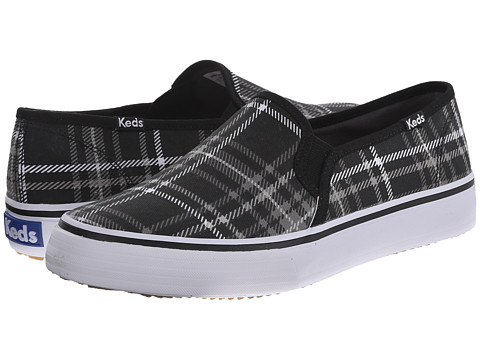 Keds - Double Decker Plaid (Black Canvas) Women's Slip on Shoes