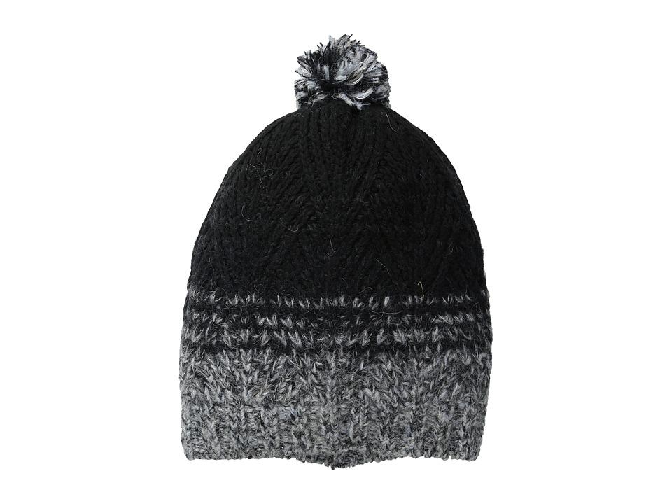 LAUREN by Ralph Lauren - Mohair Dipped Aran Hat w/ Pom (Black) Beanies
