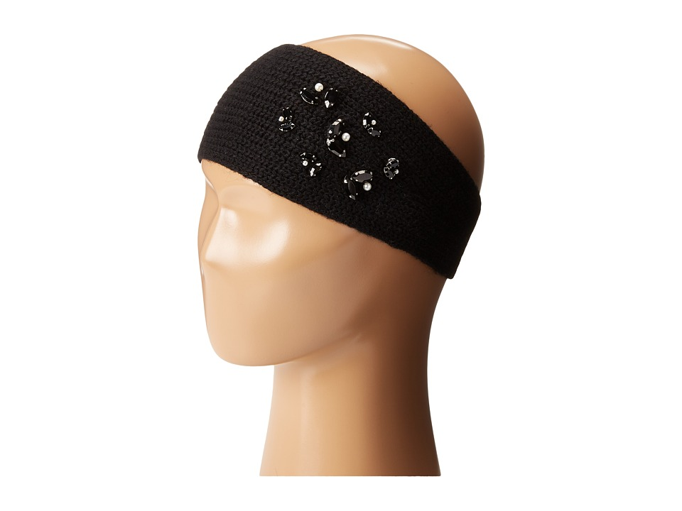 LAUREN Ralph Lauren - Jewel Encrested Waffle Stitch Headband (Black/Jet & Smoke) Headband