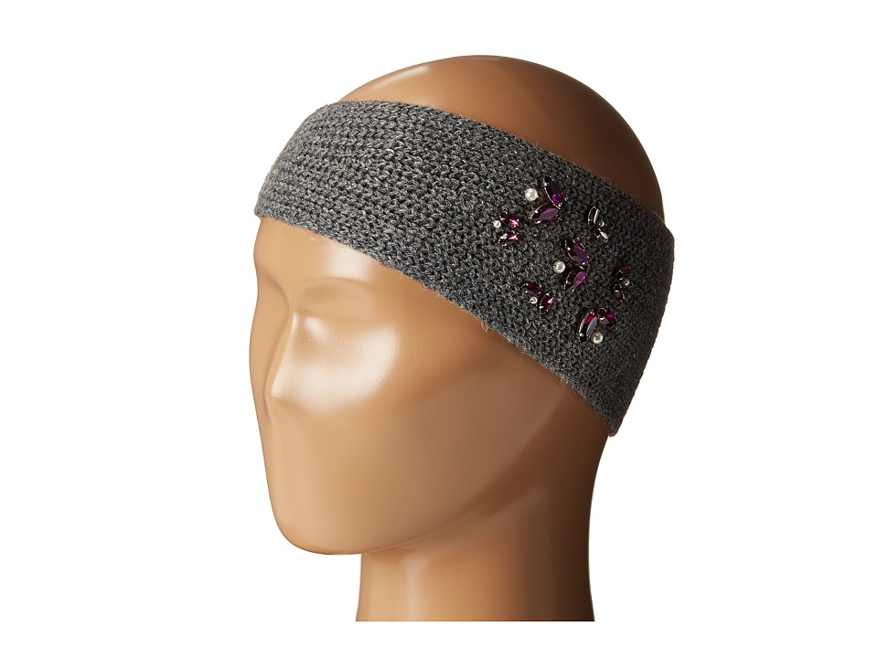 LAUREN by Ralph Lauren - Jewel Encrested Waffle Stitch Headband (Dark Grey Heather/Smoke & Amethyst) Headband