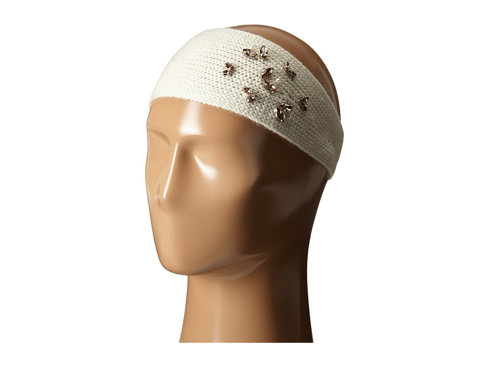 LAUREN by Ralph Lauren - Jewel Encrested Waffle Stitch Headband (Cream/Clear & Champagne) Headband