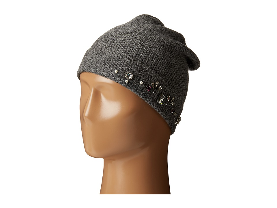 LAUREN by Ralph Lauren - Jewel Encrested Waffle Stitch Cuff Hat (Dark Grey Heather/Smoke/Clear) Beanies