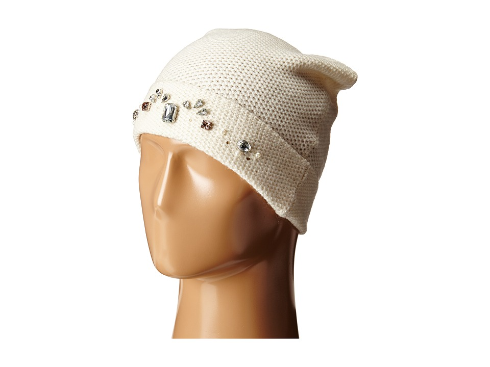 LAUREN by Ralph Lauren - Jewel Encrested Waffle Stitch Cuff Hat (Cream/Clear & Champagne) Beanies