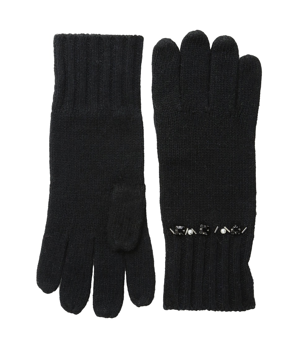 LAUREN by Ralph Lauren - Jewel Encrested Waffle Stitch Glove (Black/Jet & Smoke) Wool Gloves