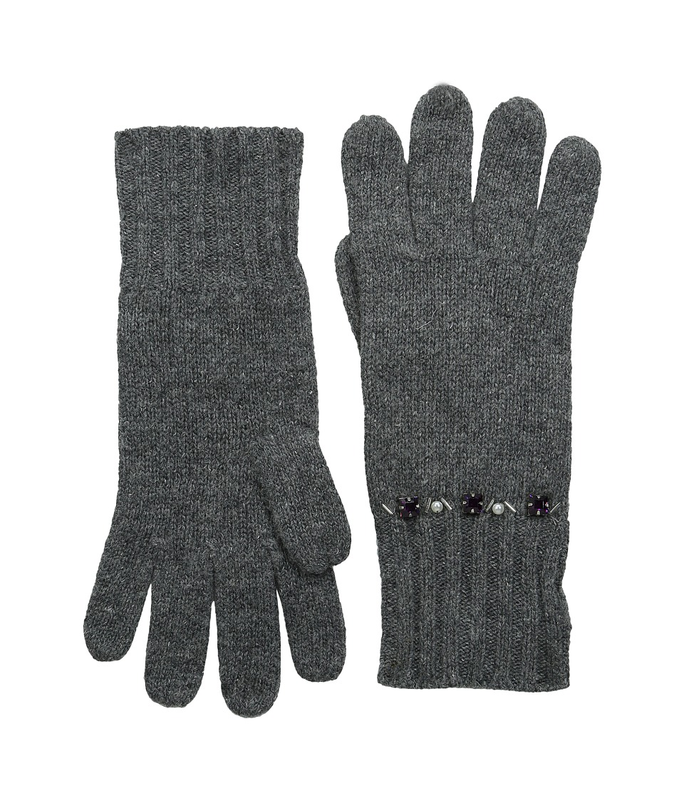 LAUREN by Ralph Lauren - Jewel Encrested Waffle Stitch Glove (Dark Grey Heather/Smoke & Amethyst) Wool Gloves