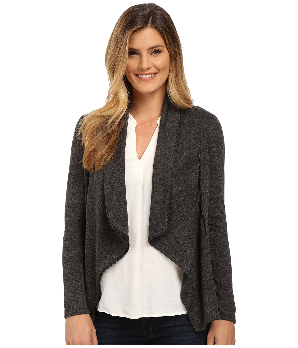 NYDJ - City/Sport Novelty Zip Moto Wrap (Charcoal) Women's Sweater