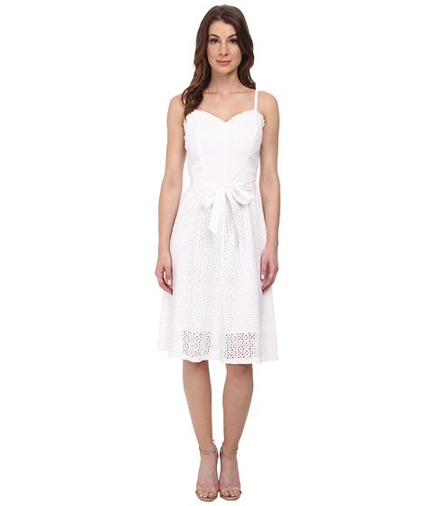 Anne Klein - Eyelet Combo Sweetheart Dress (Optic White) Women's Dress
