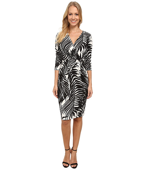 Anne Klein - Jersey Draped Dress (White/Black) Women's Dress