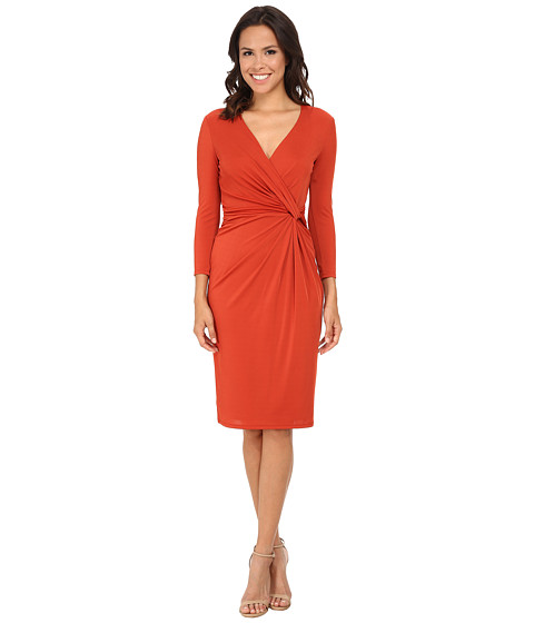 Anne Klein - Jersey 3/4 Sleeve Draped Dress (Apple Cinnamon) Women
