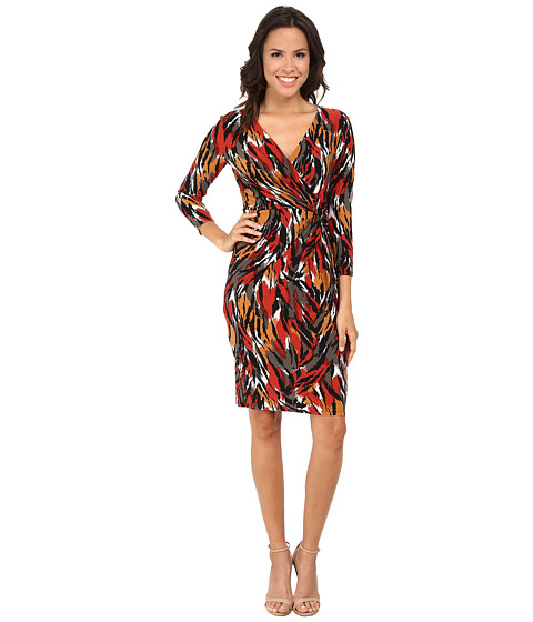 Anne Klein - Printed Jersey Draped Dress (Apple Cinnamon Combo) Women