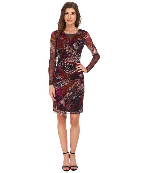 London Times - Long Sleeve Side Drape Mesh Sheath (Pink/Multi) Women's Dress