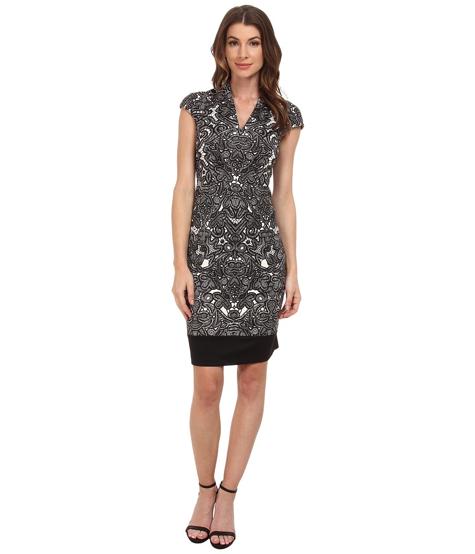 London Times - Ponte Scroll Lace Sheath (Ivory/Black) Women