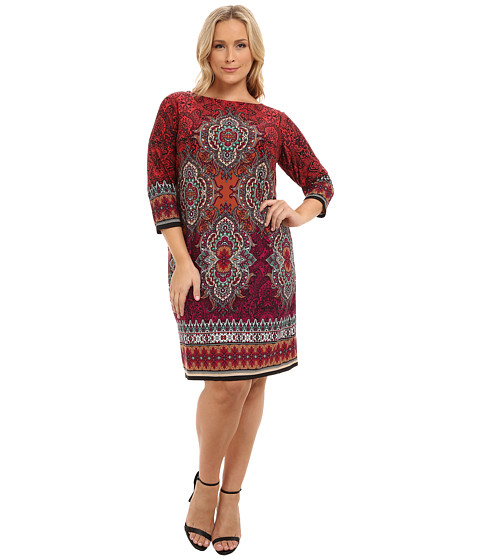 London Times - Plus Size Long Sleeve Printed Jersey Shift (Pink/Multi) Women's Dress