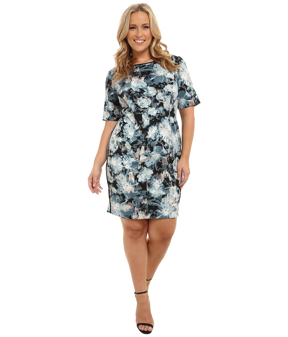 London Times - Plus Size Elbow Sleeve Printed Ponte Sheath (Teal) Women's Dress