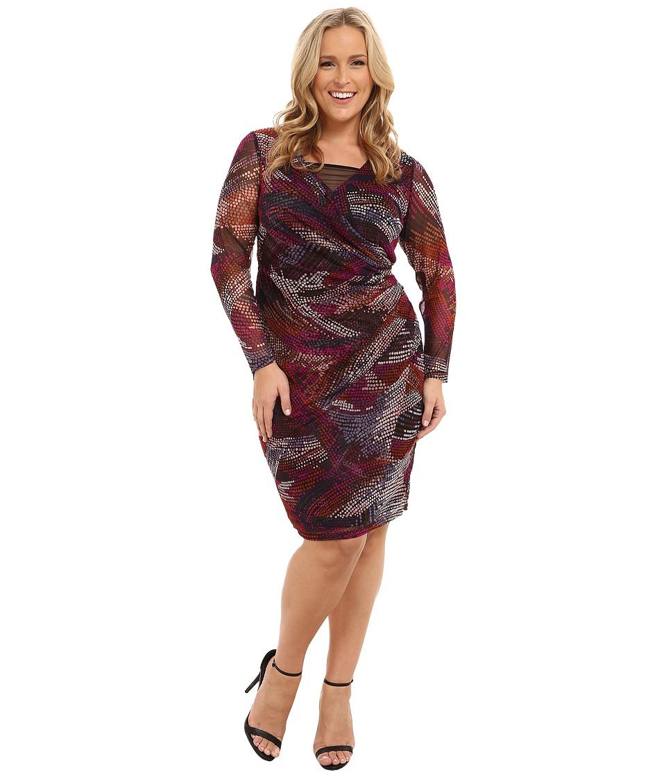 London Times - Plus Size Long Sleeve Side Drape Mesh Sheath (Pink/Multi) Women's Dress