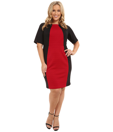 London Times - Plus Size Elbow Sleeve Side Blocked Jacquard/Ponte Sheath (Black/Red) Women's Dress