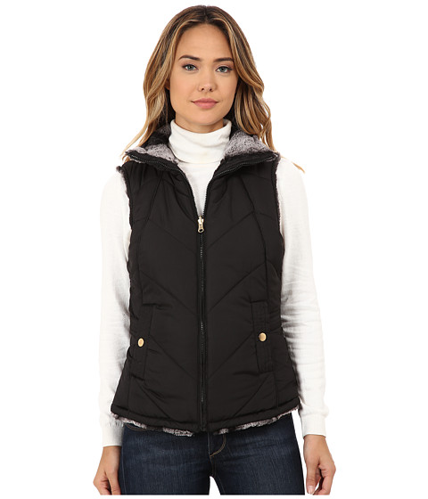 KC Collections - Reversible Chevron Stitch Vest (Black) Women's Vest