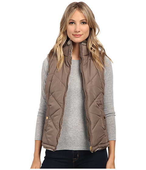 KC Collections - Reversible Chevron Stitch Vest (Taupe) Women