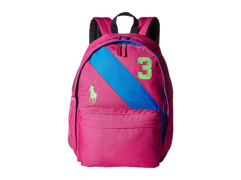Polo Ralph Lauren Kids - Banner Stripe II Large Backpack (Fuchsia/Royal/Green Logos) Backpack Bags