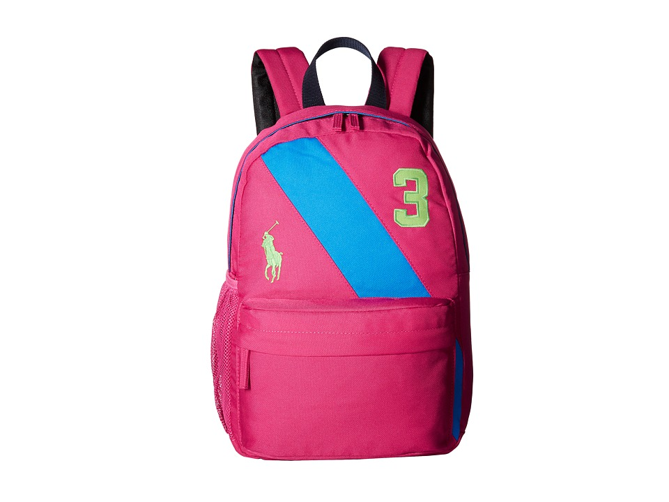 Polo Ralph Lauren Kids - Banner Stripe II Medium Backpack (Fuchsia/Royal/Green Logos) Backpack Bags