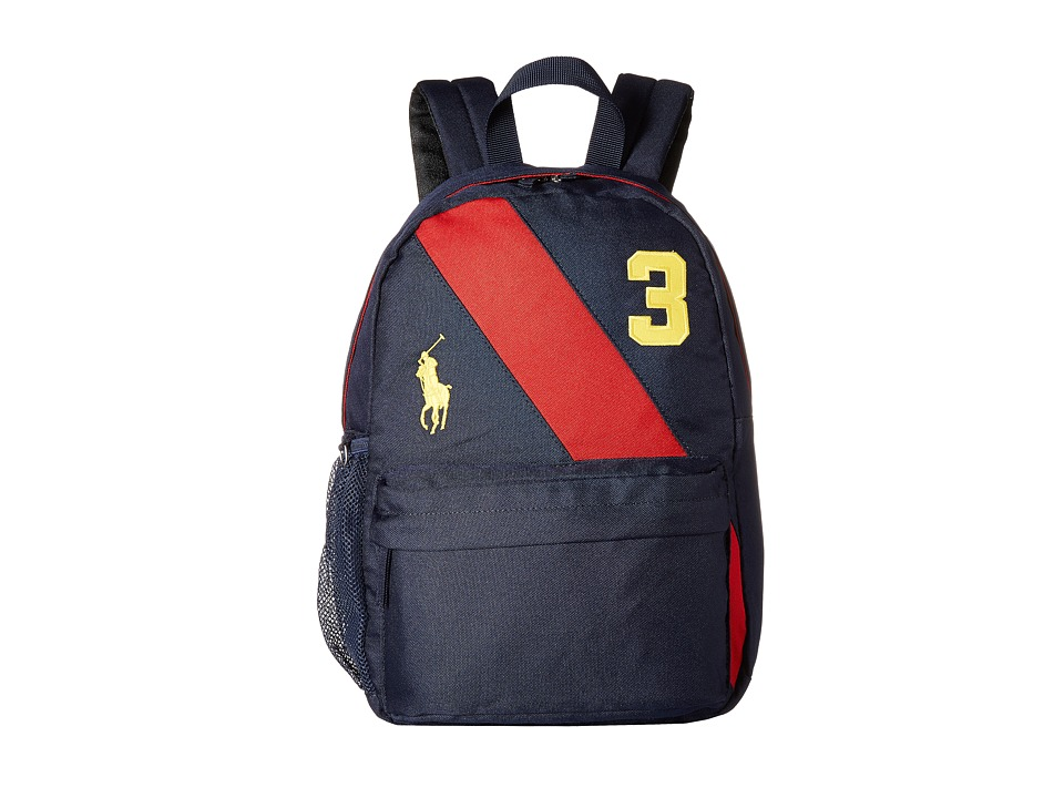 Polo Ralph Lauren Kids - Banner Stripe II Medium Backpack (Navy/Red/Gold Logos) Backpack Bags