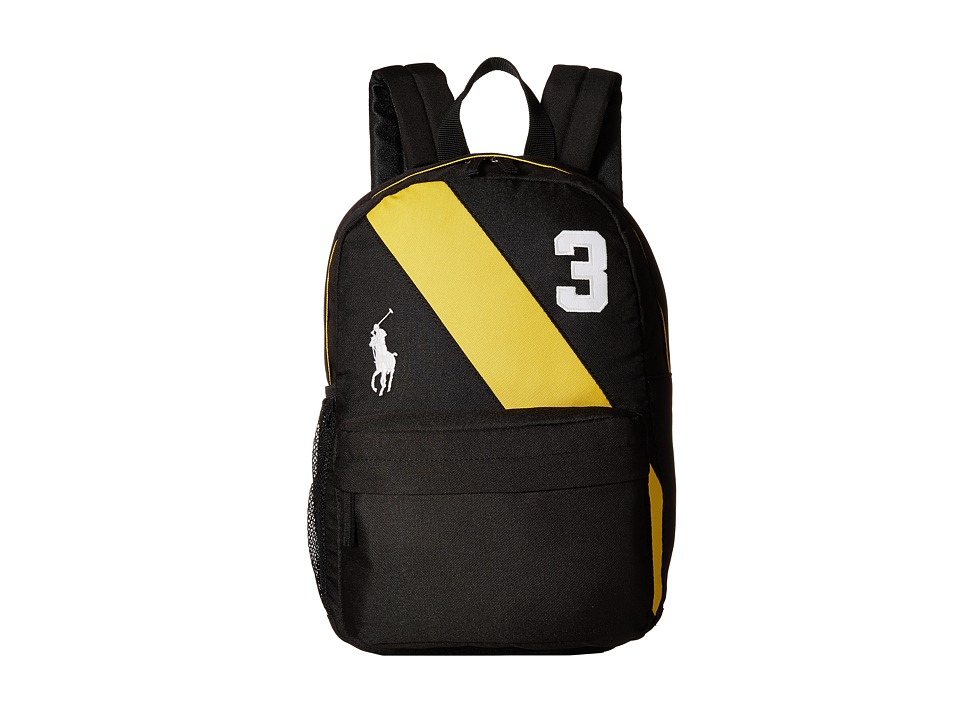 Polo Ralph Lauren Kids - Banner Stripe II Medium Backpack (Black/Yellow/White Logos) Backpack Bags