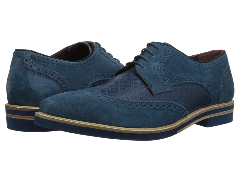 Ted Baker - Caaux (Blue Suede) Men's Lace Up Wing Tip Shoes