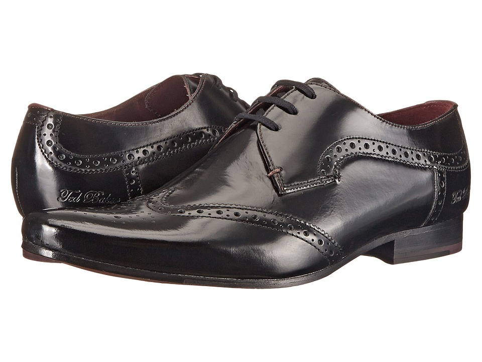 Ted Baker - Hamniy (Black Shine) Men's Lace Up Wing Tip Shoes