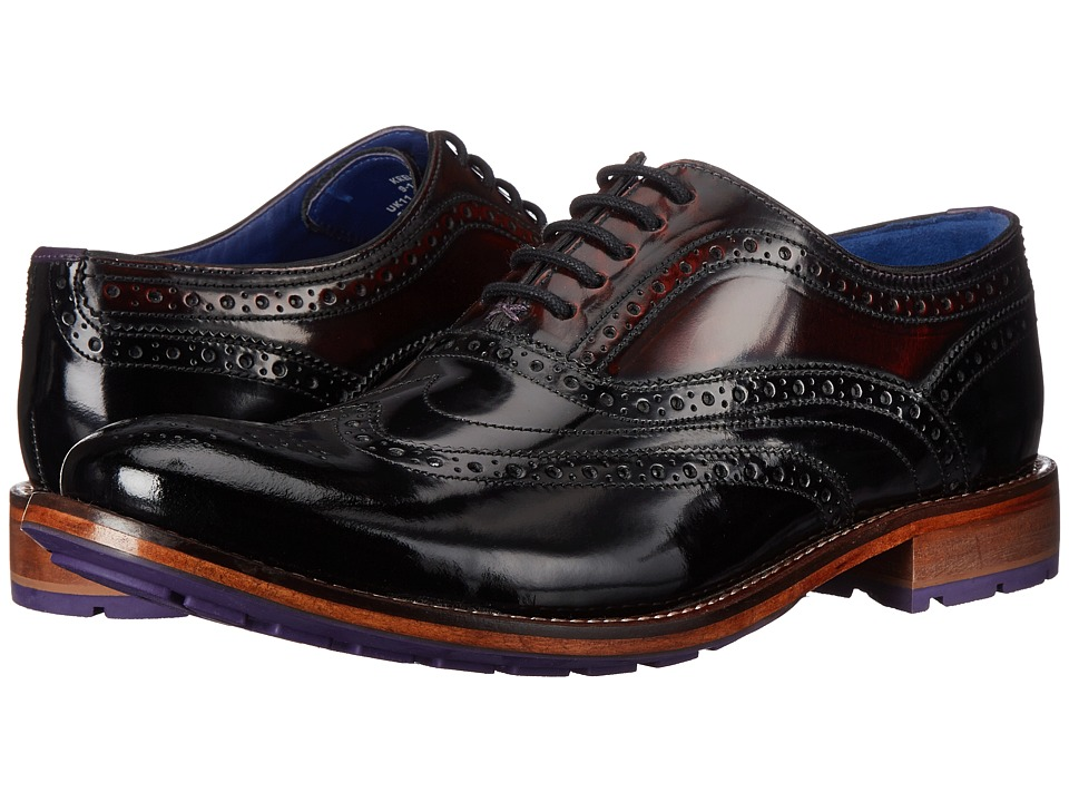 Ted Baker - Krelly (Black/Dark Red Shine) Men's Lace Up Wing Tip Shoes