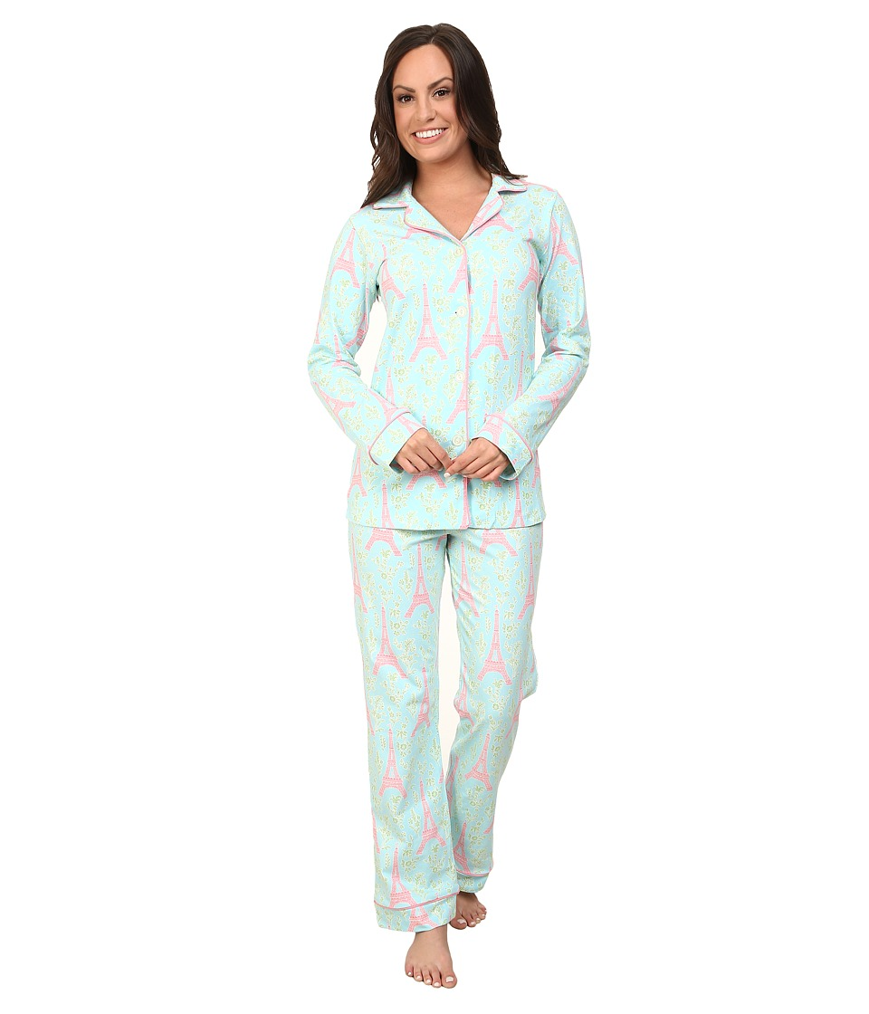 BedHead - Long Sleeve Classic PJ Set (Light Blue Eiffel Tower) Women's Pajama Sets