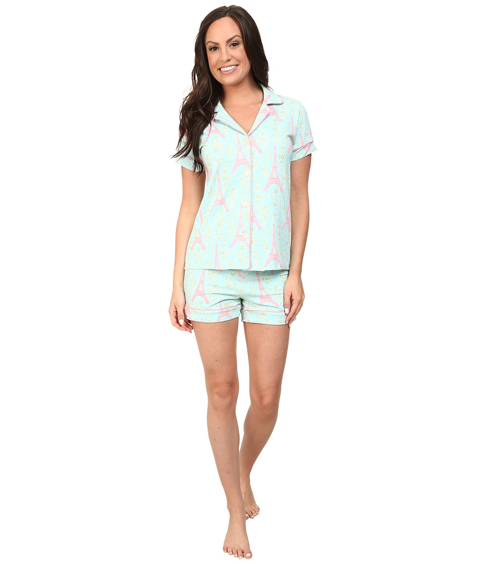 BedHead - Short Sleeve Shorty PJ Set (Light Blue Eiffel Tower) Women's Pajama Sets