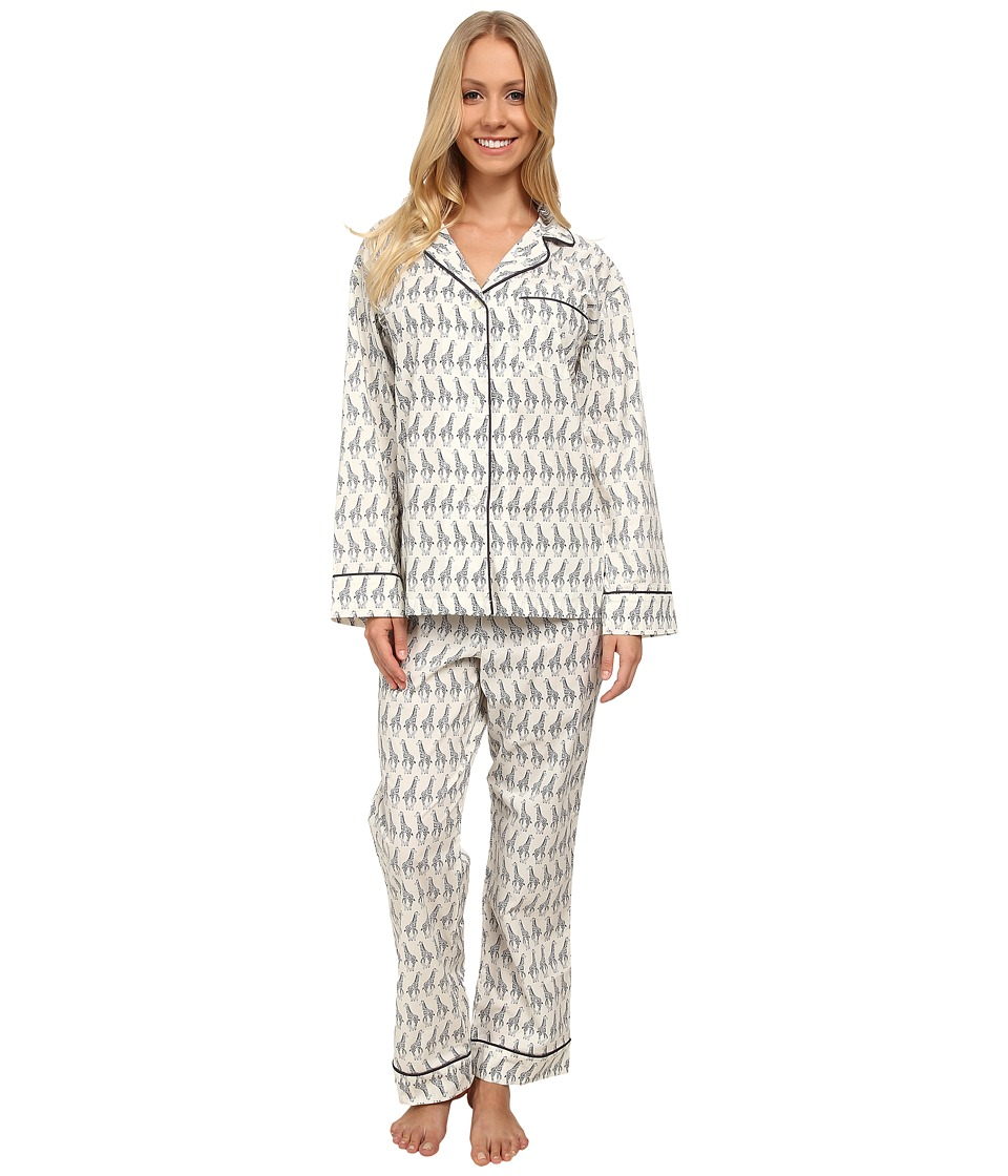 BedHead - Long Sleeve Classic PJ Set (Black/Ivory Giraffe) Women's Pajama Sets