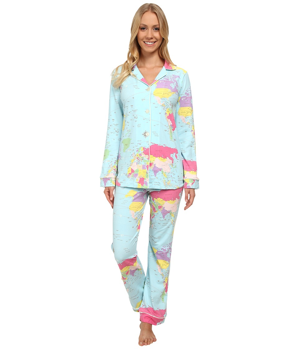 BedHead - Long Sleeve Classic PJ Set (Aqua Around The World) Women's Pajama Sets