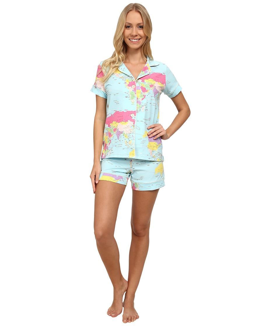 BedHead - Short Sleeve Shorty PJ Set (Aqua Around The World) Women's Pajama Sets