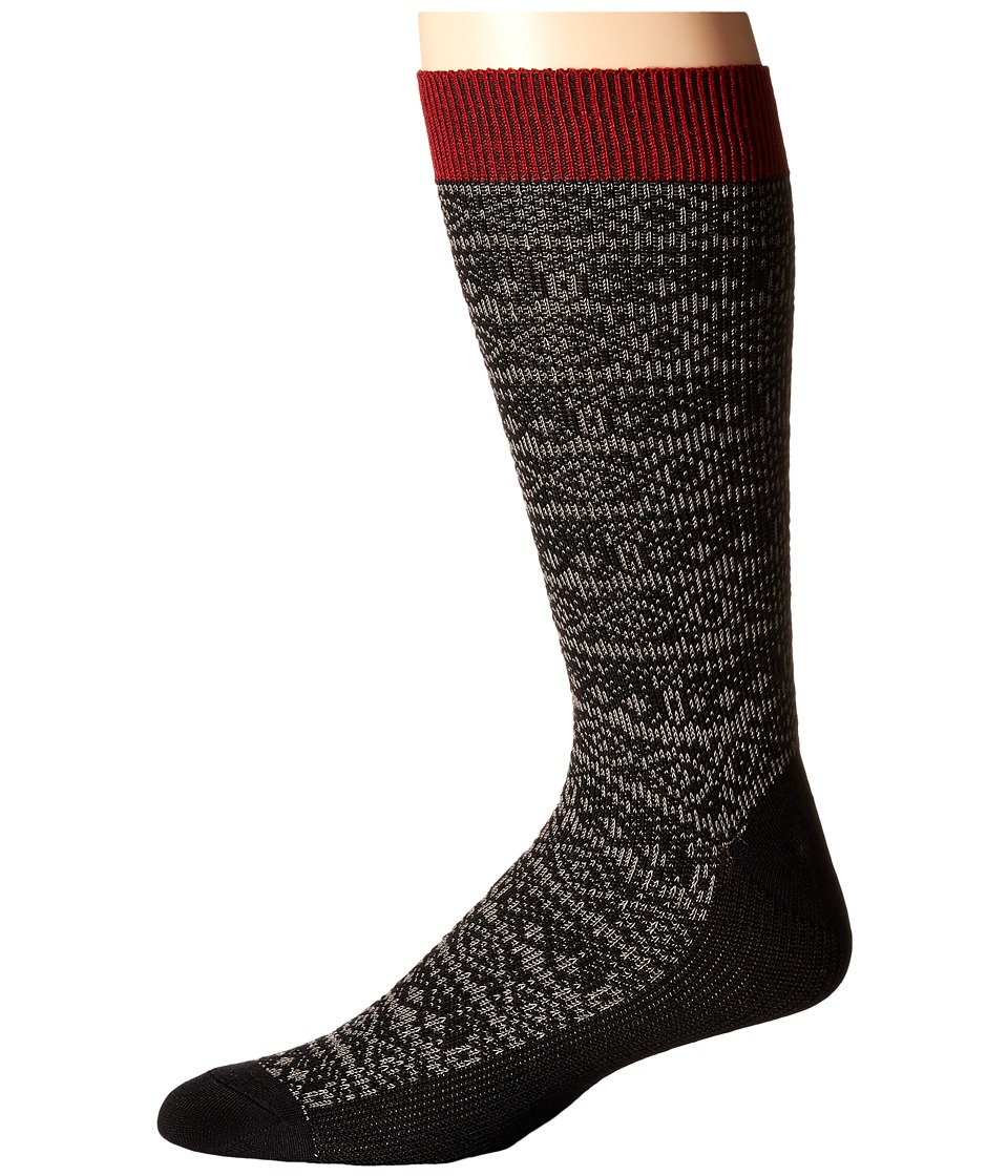 Sperry Top-Sider - Soft Extreme Patterned Crew (Black Heather) Men's Crew Cut Socks Shoes