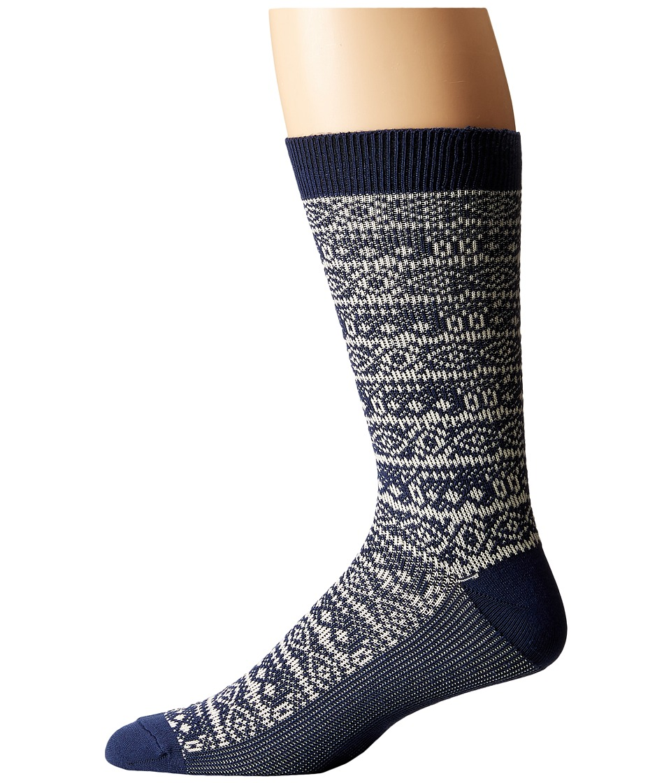 Sperry Top-Sider - Soft Extreme Patterned Crew (Navy) Men's Crew Cut Socks Shoes