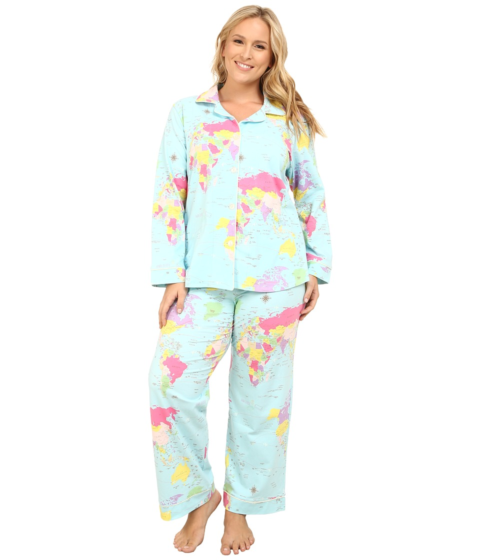 BedHead - Plus Size Long Sleeve Classic PJ Set (Aqua Around The World) Women's Pajama Sets