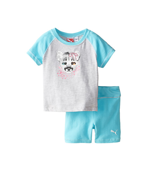 Puma Kids - Raglan Tee and Shorts Set (Infant) (Faster Blue) Girl