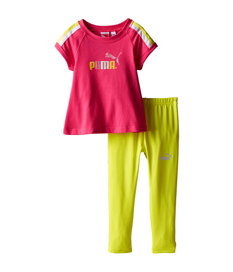Puma Kids - Flare Top and Leggings Set (Infant) (Pink Glo) Girl's Active Sets
