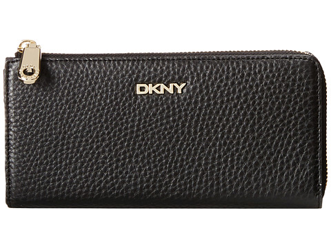 DKNY - SLGS - Tribeca Soft Large Half Zip Around (Black) Handbags